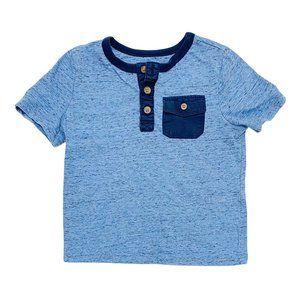 Blue One Pocket Henley Tee